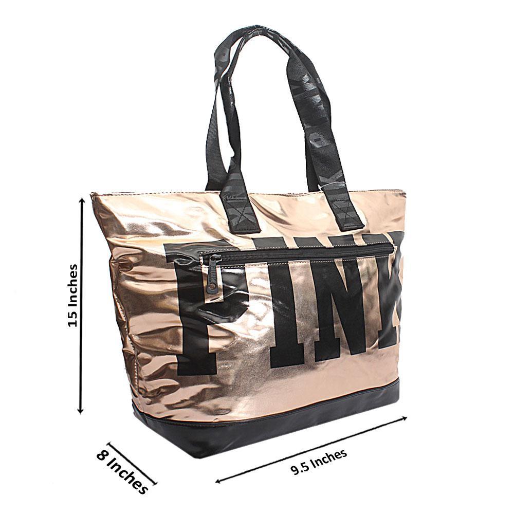 VS Gold Black Patent Leather Duffle Shoulder Handbag
