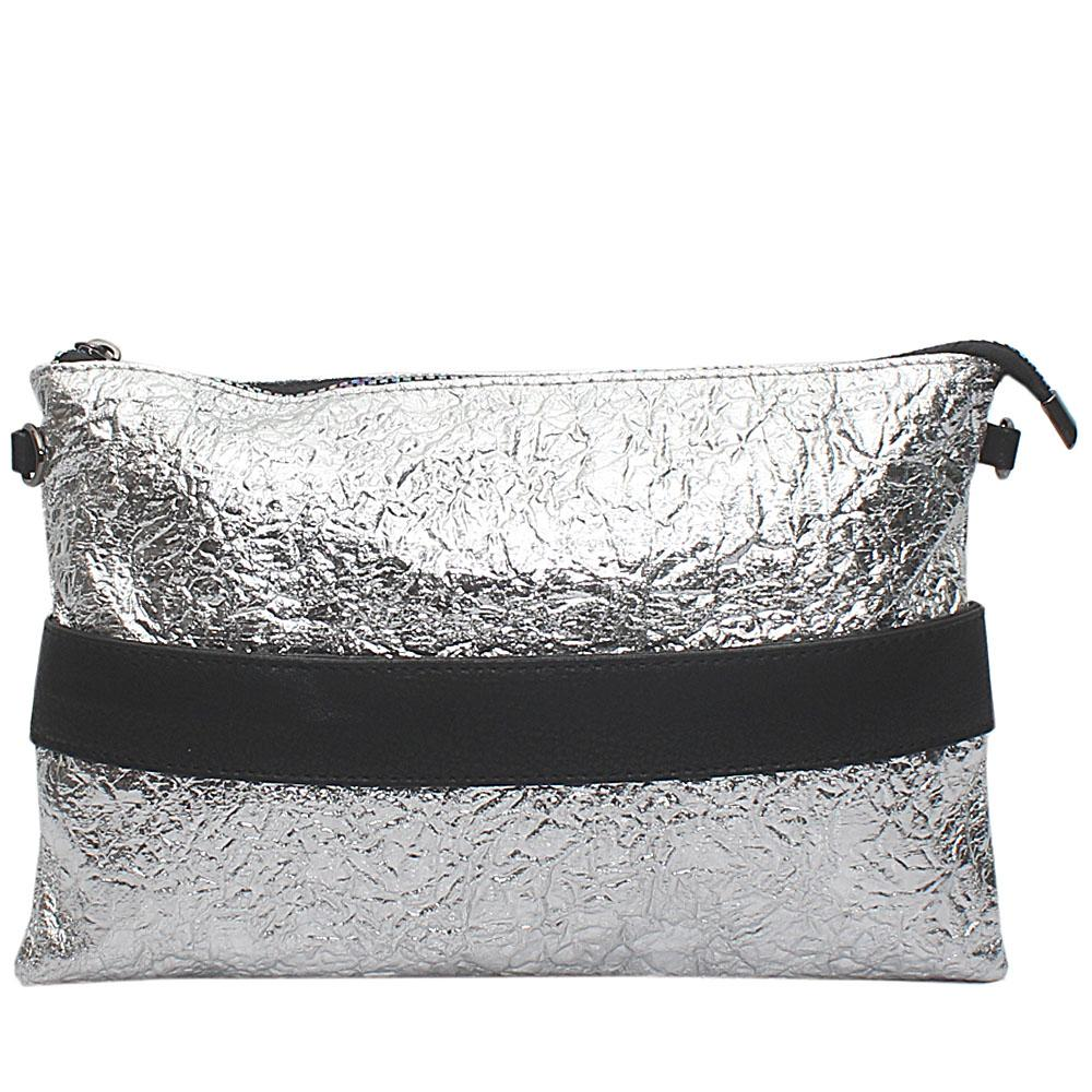 Glitz Silver Clatier Leather Flat Purse