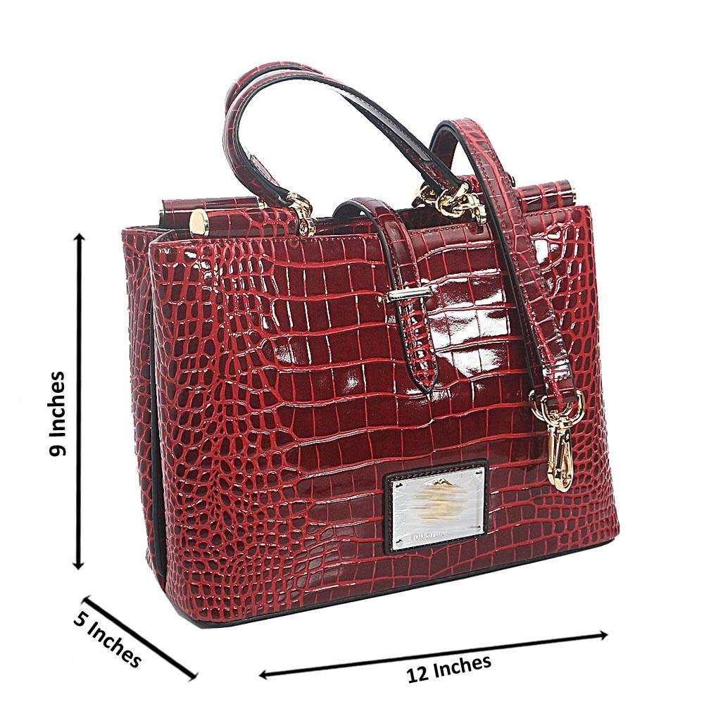 Wine Croc Saffiano Leather Handbag
