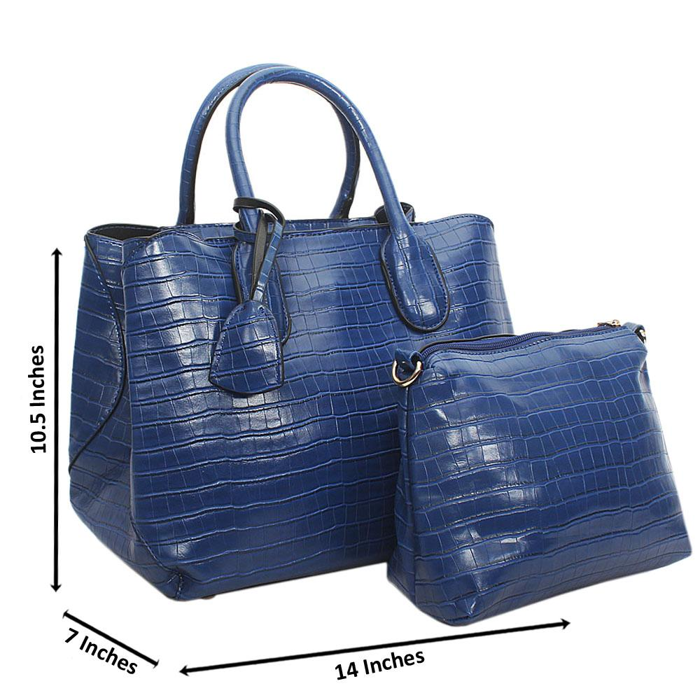 Blue Lola Croc Leather Tote Handbag