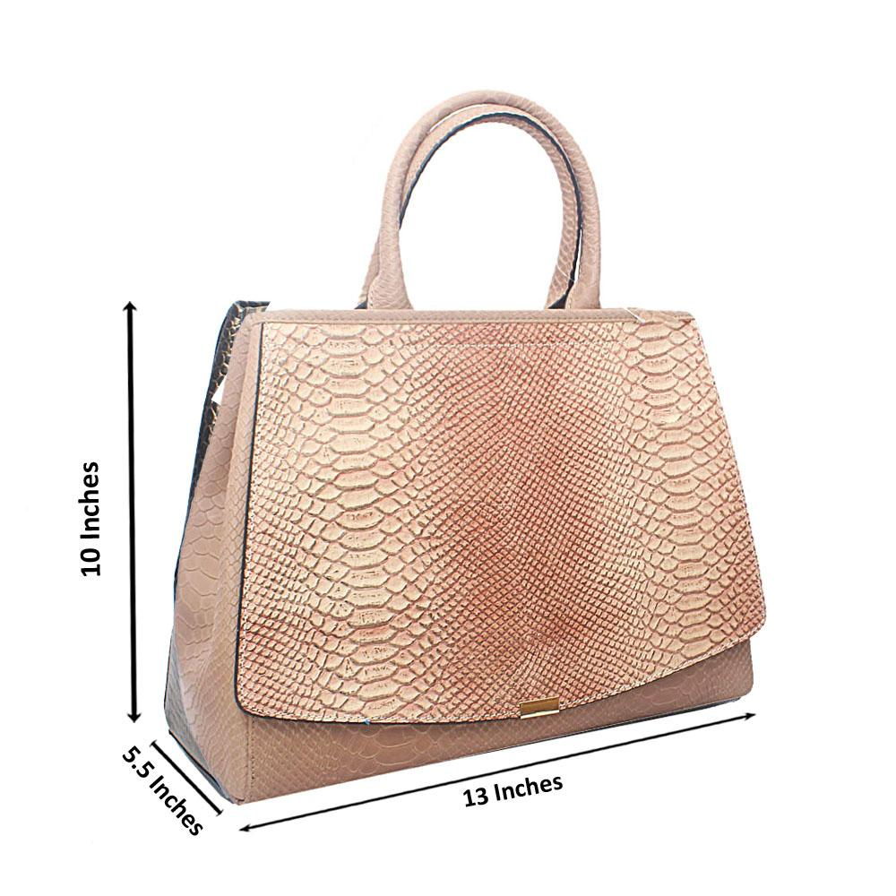Timonne Camel Brown Snake Montana Leather Handbag