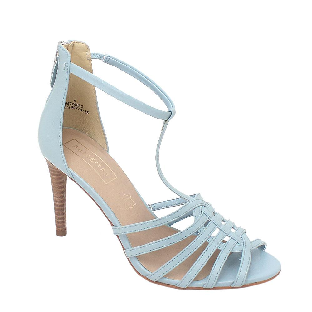 Autograph Sky Blue Leather Ladies Heel Sandals