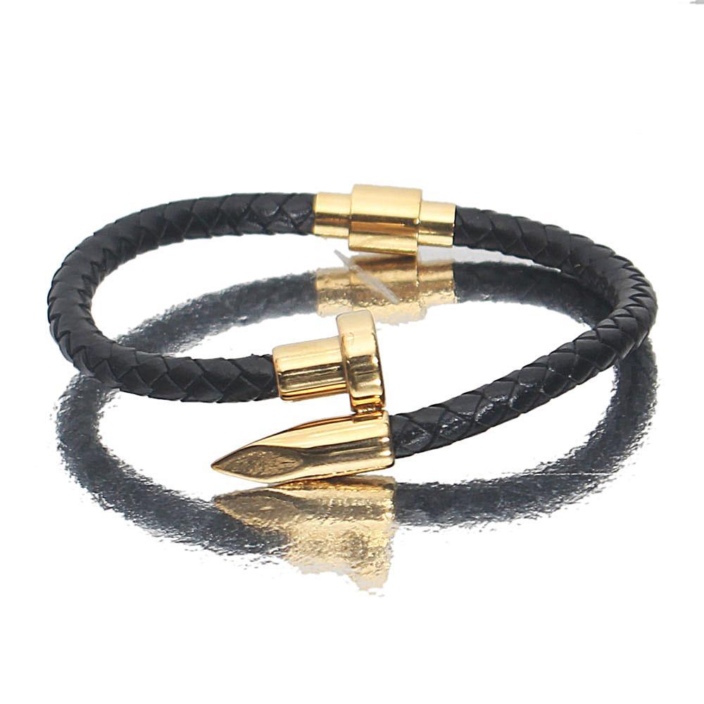 Gold Black Bullet Leather Bracelet