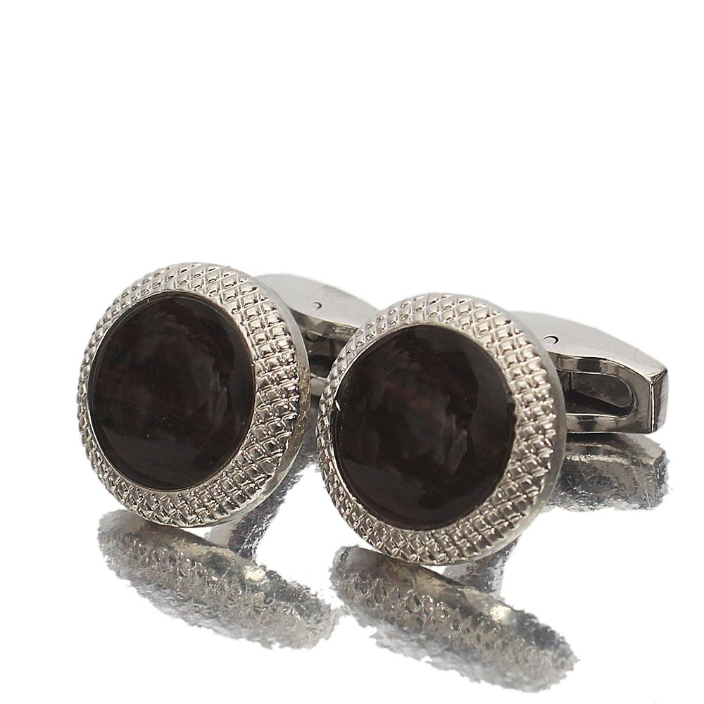 Silver Black Ceramic Stainless Steel Cufflinks