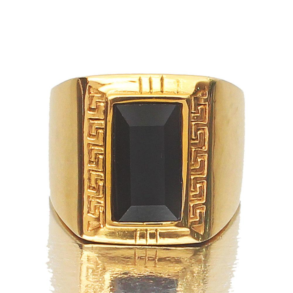 Black Stone Gold Statement Ring