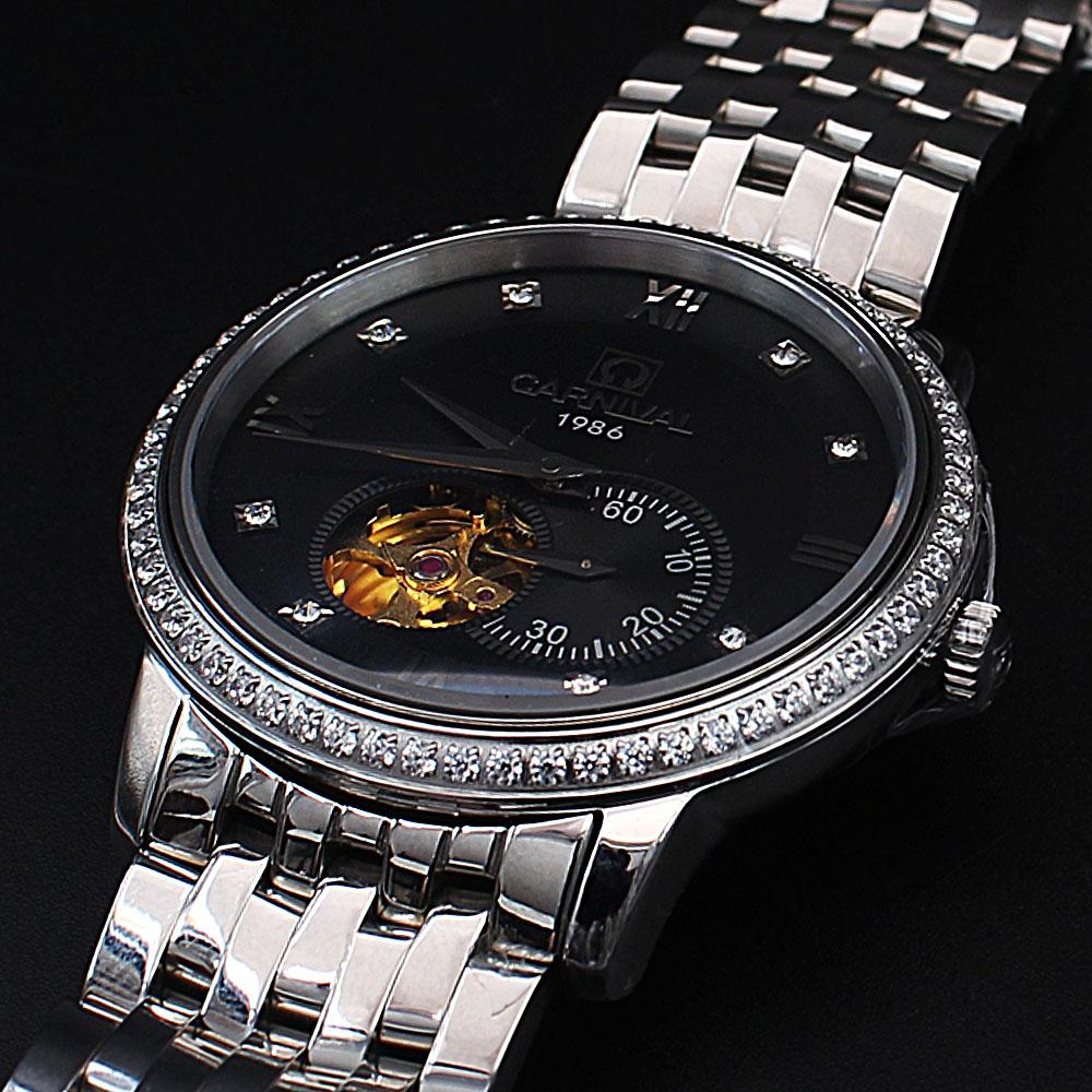 Shanghai Emiliano Black Face Steel Studded Automatic Watch