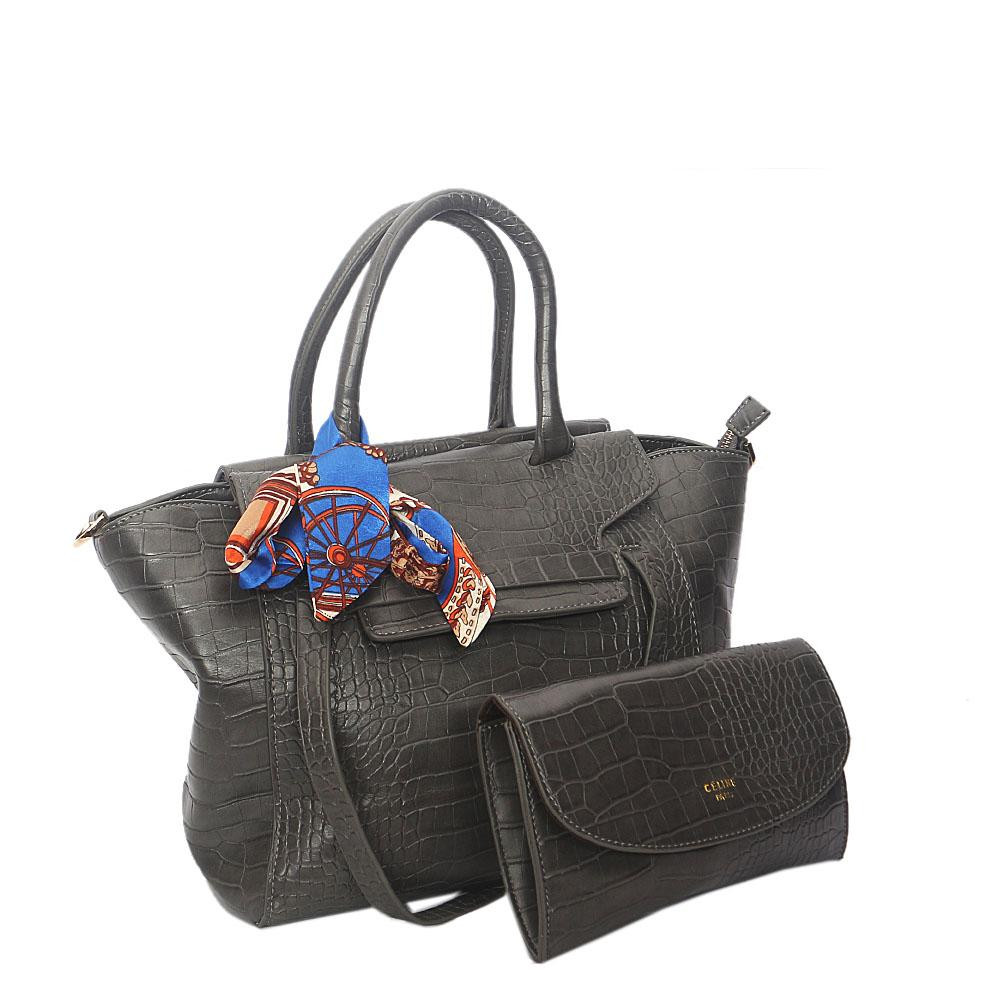 Gray Rossie Croc Leather Tote Handbag