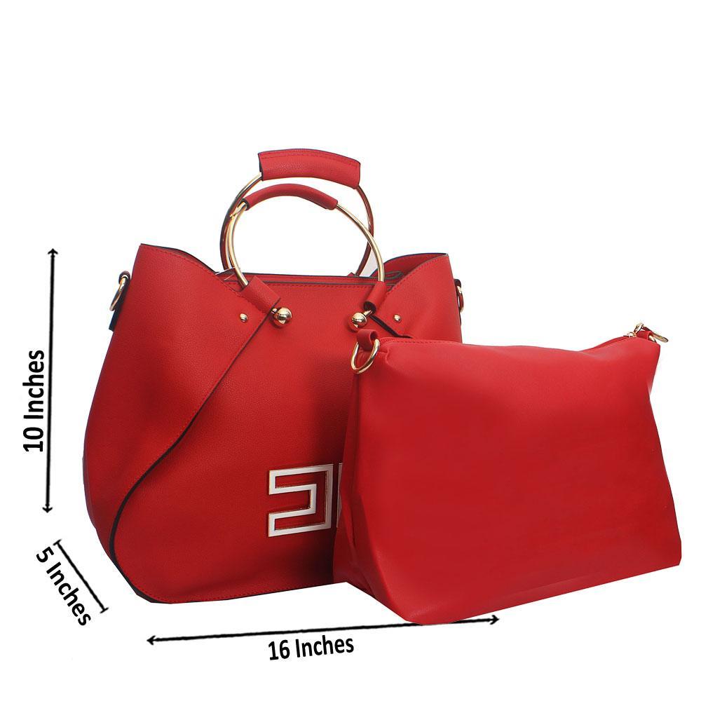 Red Metal Handle Leather Handbag