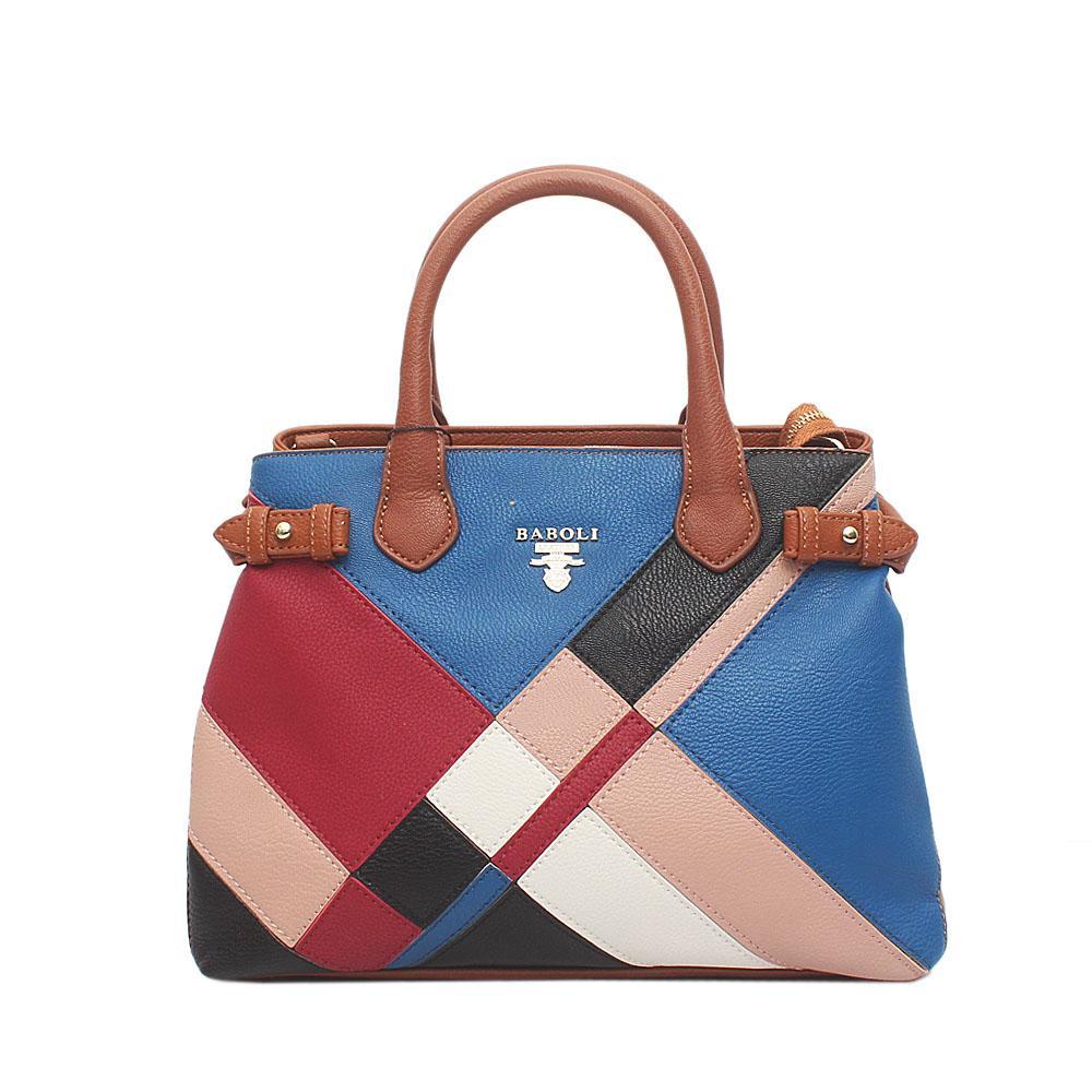 Baboli Brown Blue Wine Leather Patchwork Bag (Minor Peel)