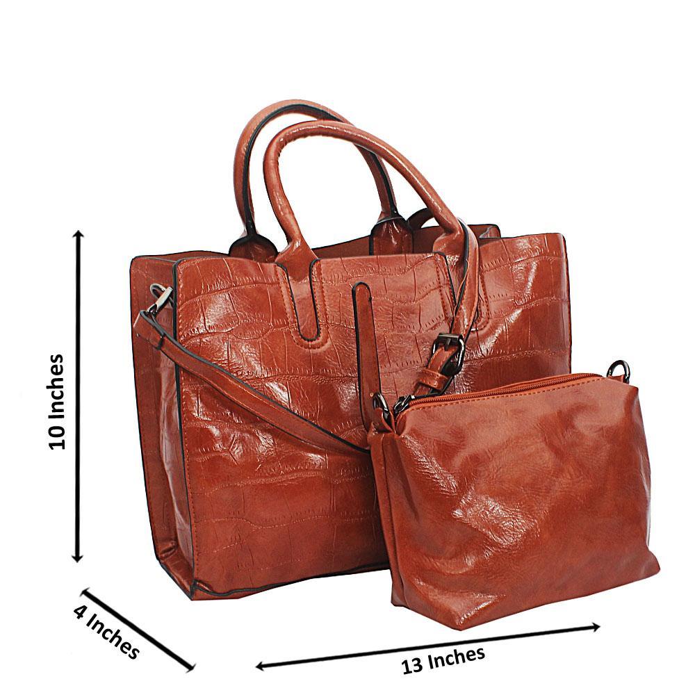 Brown Maya Croc Leather Tote Handbag