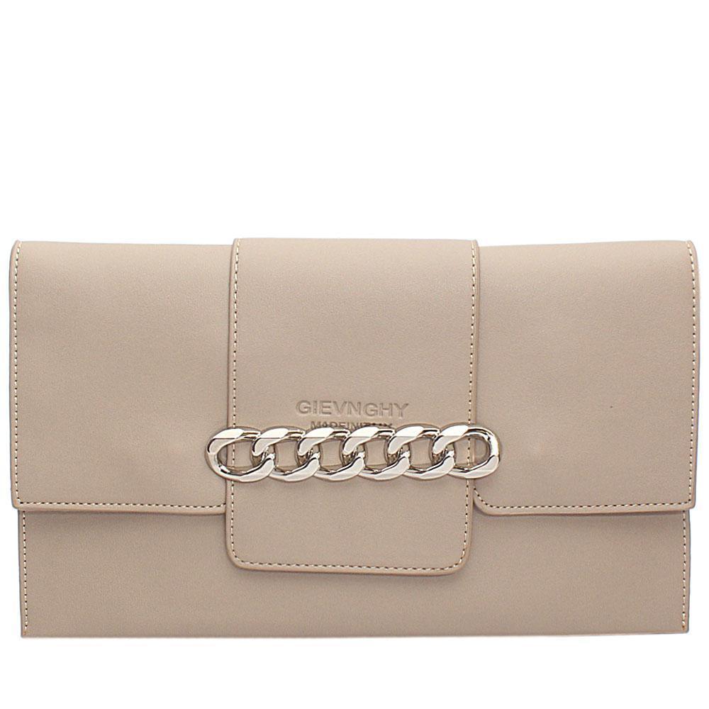 Khaki Arelia Design Leather Flat Purse