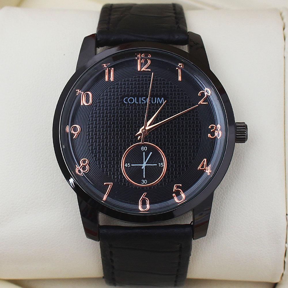 Coliseum Geometry Black Leather Men's Fashion Watch-