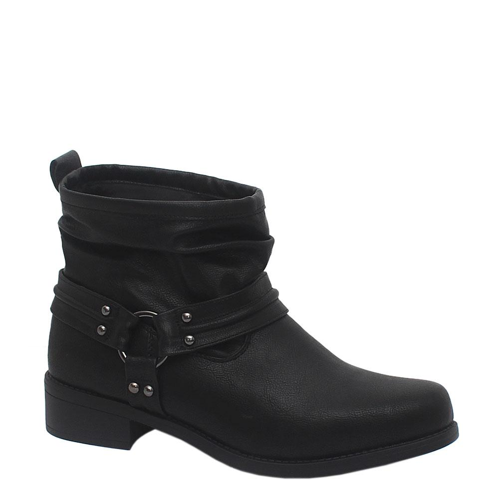 M & S Black Leather Ladies Ankle Boot