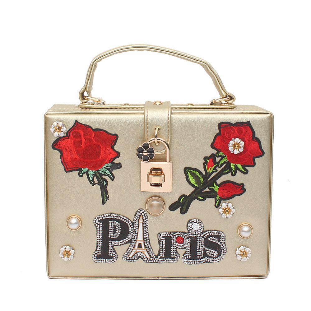 Paris Flora Gold Leather Bag