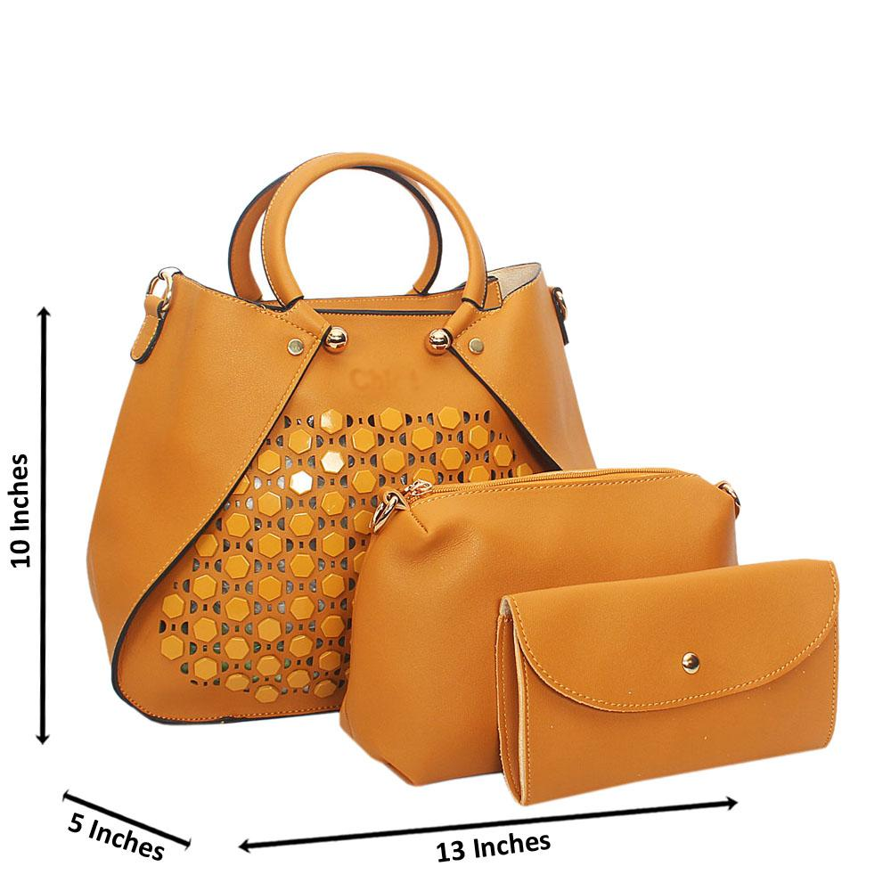 Yellow Rose See Through Leather 3 in 1 Tote Handbag