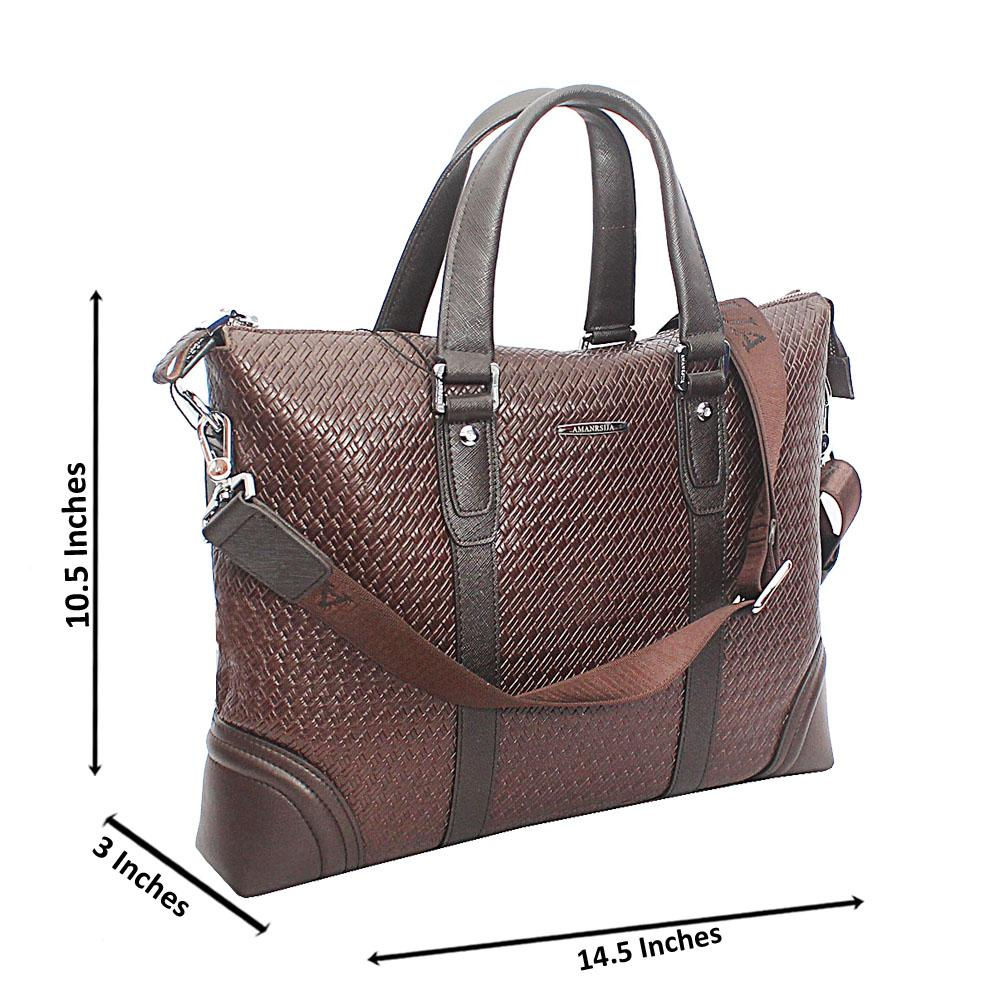 Brown Masculine Woven Style Median Tote Man Bag