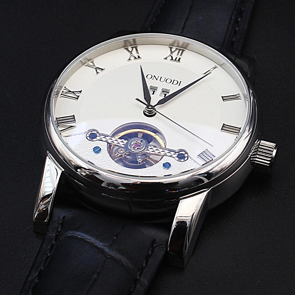 Shanghai Nudi Silver Black Leather Automatic Date Classic Watch