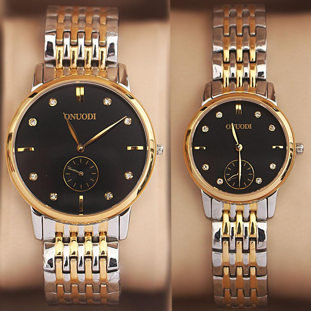 Onuodi 2-Tone Studded His & Hers Shanghai Watch