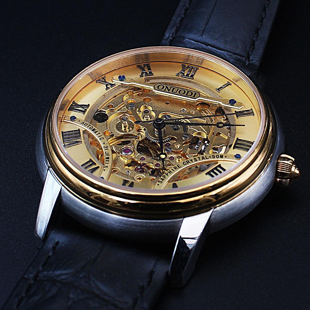 Shanghai Nudi Black Leather Automatic Skeletal Watch