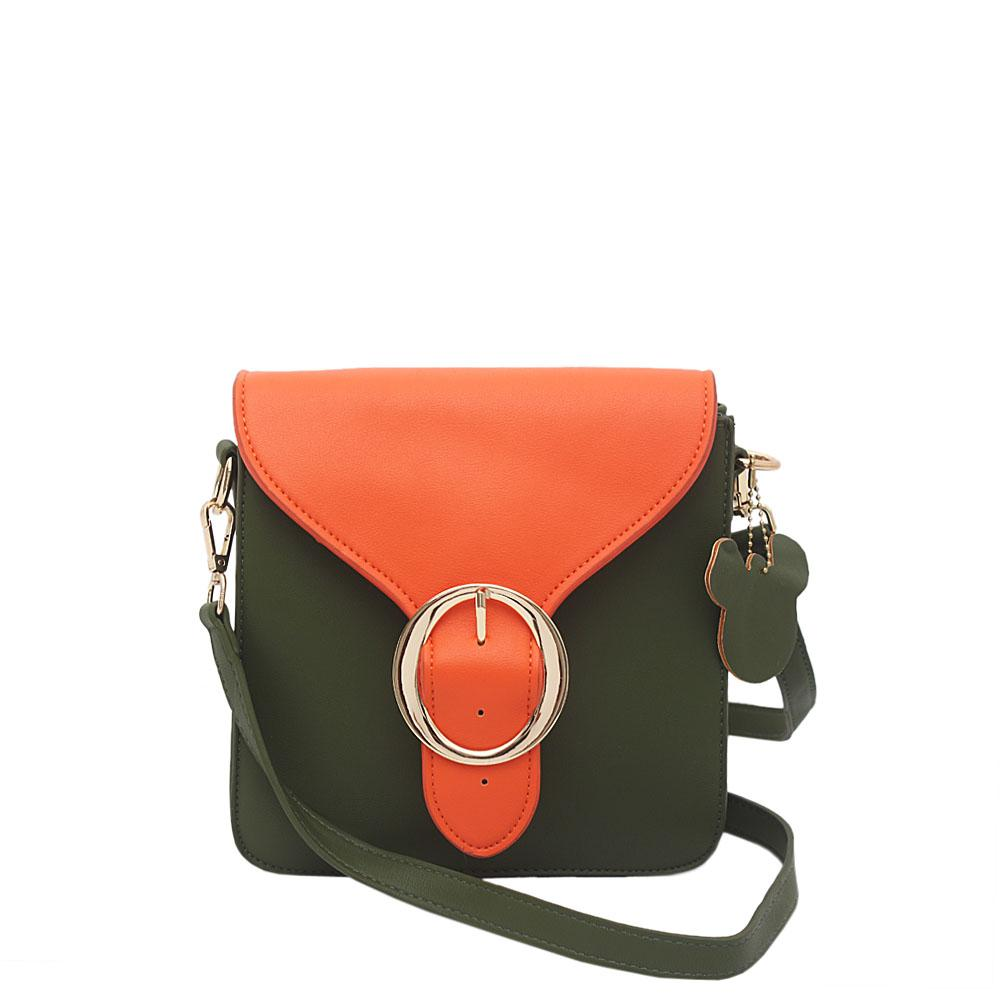 London Style Green Orange Leather Small Crossbody Bag