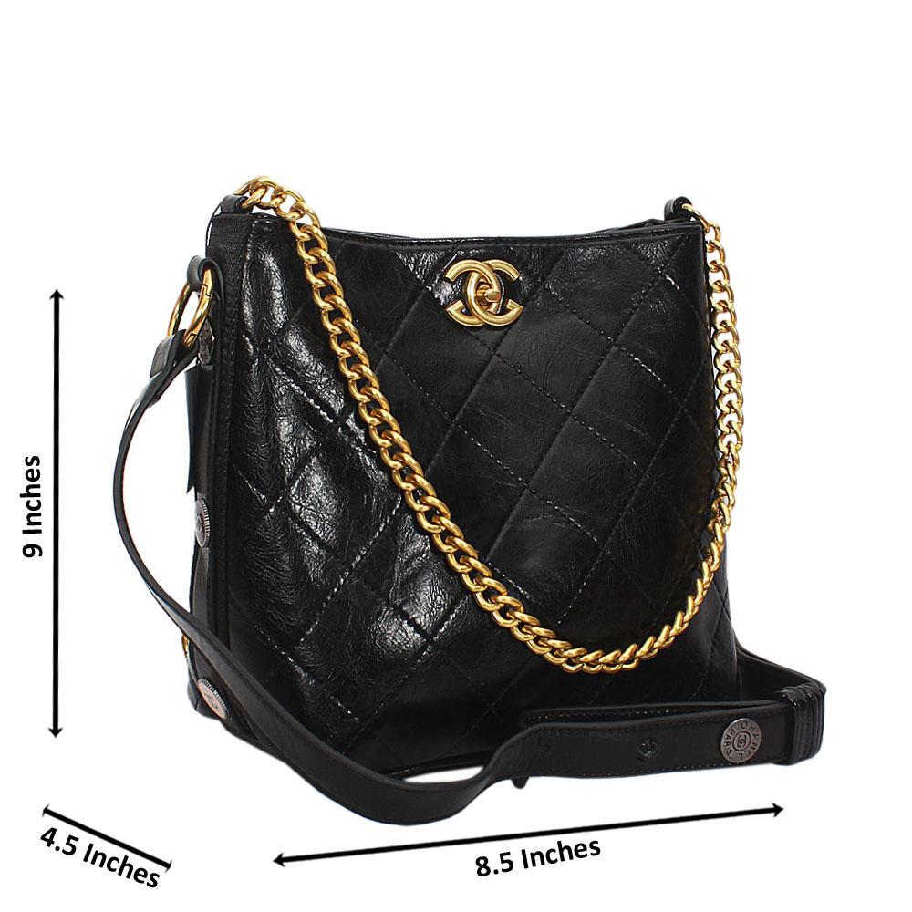 Black Melissa Leather Shoulder Handbag