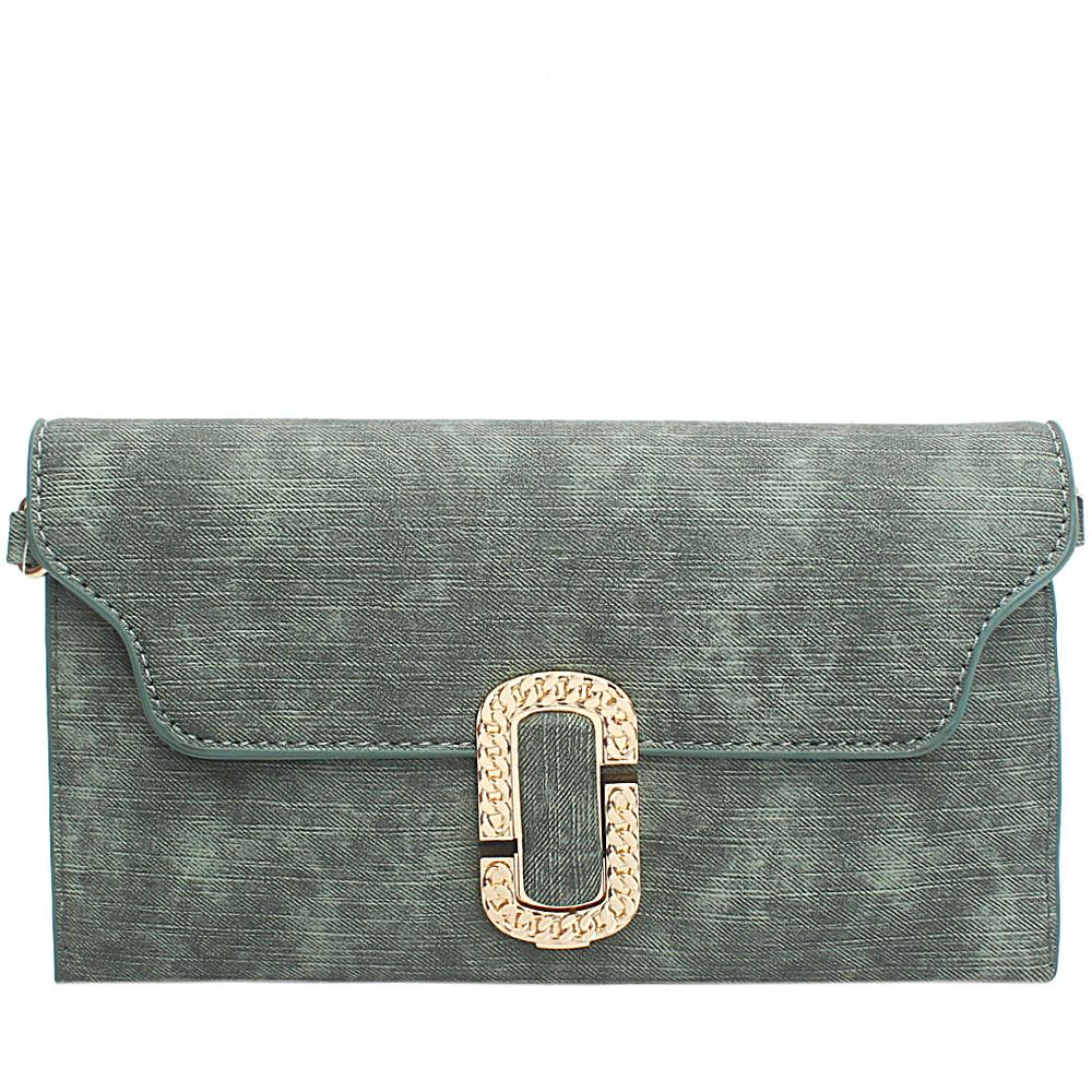 Green Sylvia Leather Flat Purse
