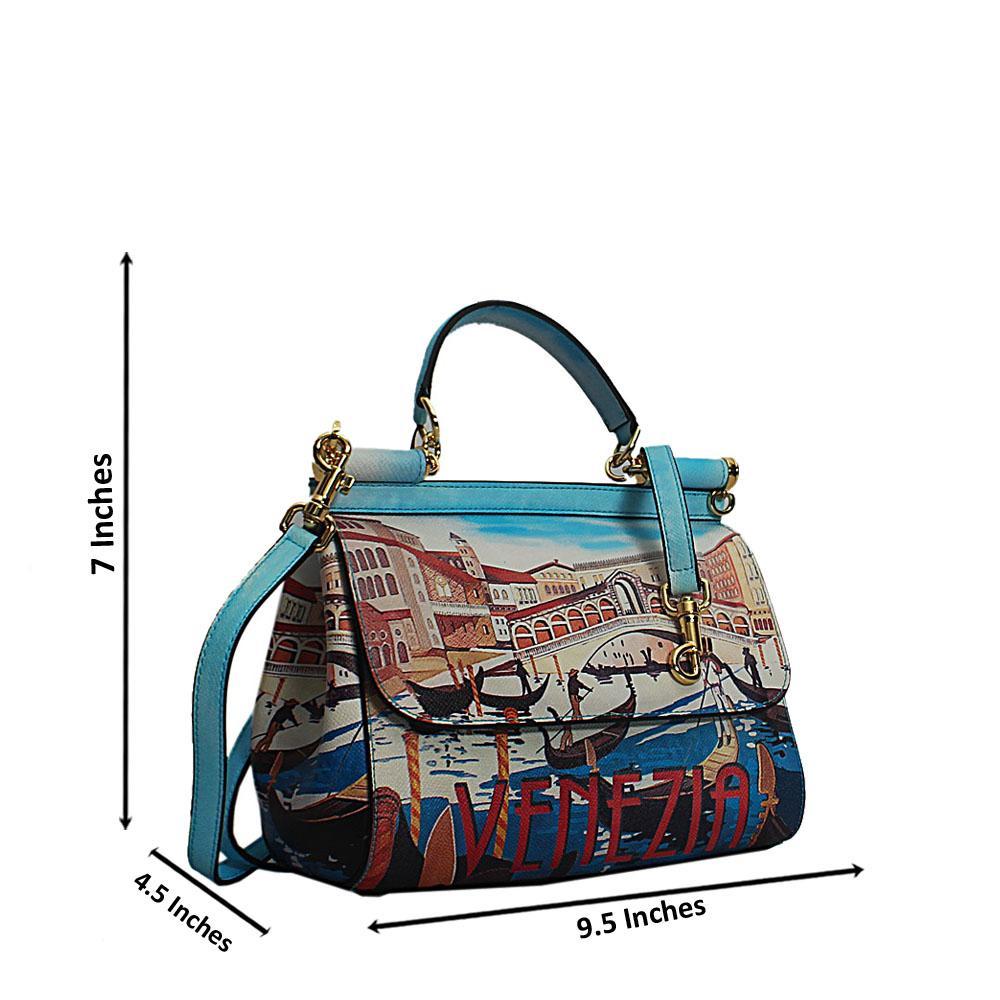 Blue Vintage Multicolor Cow Leather Small Top Handle Handbag