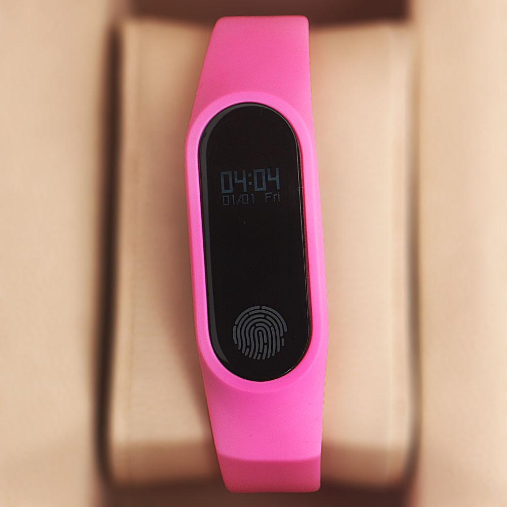 Pink Rubber Strap Fitbit Smart Watch (Heart Rate Calories Sleep Tracker)