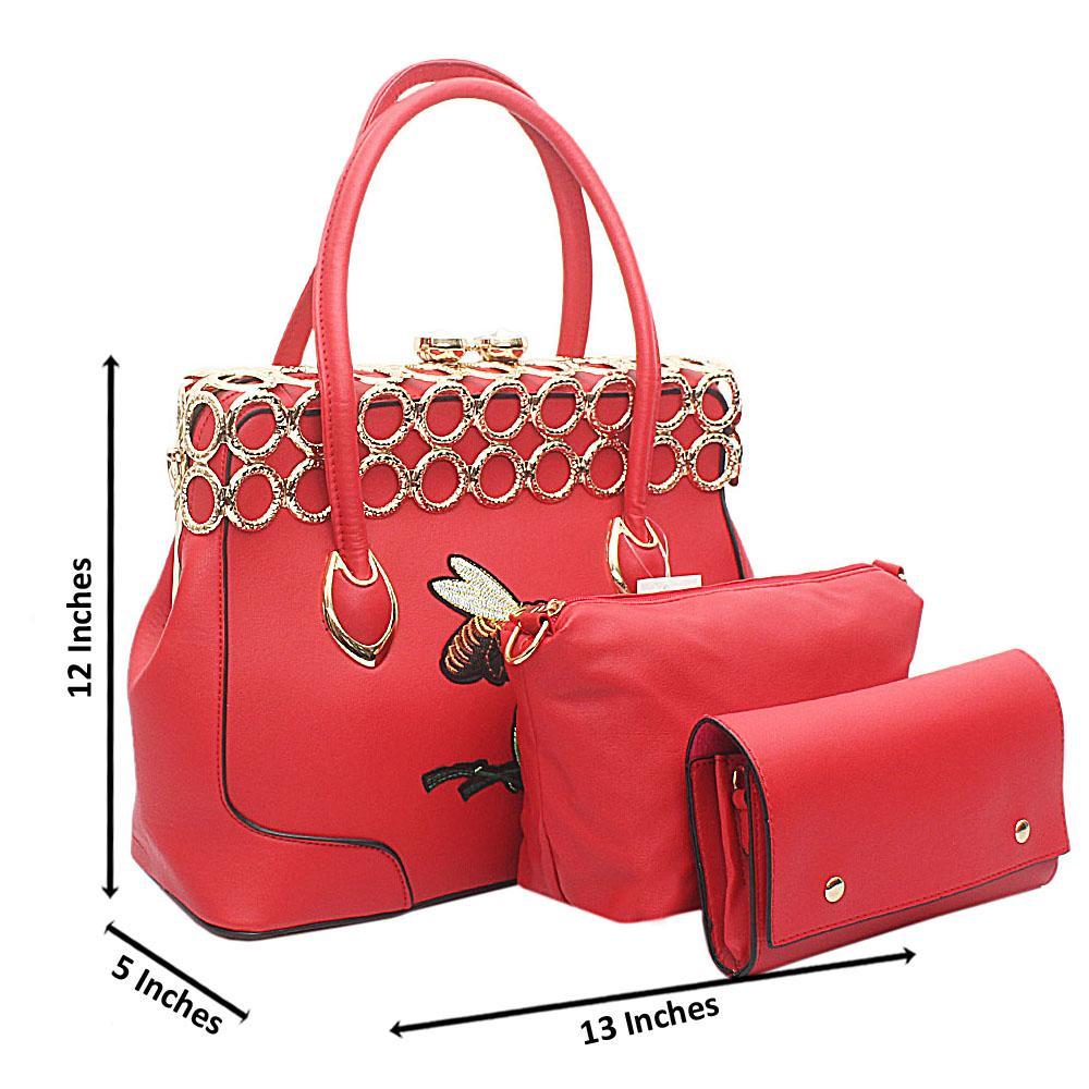 3 in 1 Red Leather Vintage Handbag Wt Gold Platings