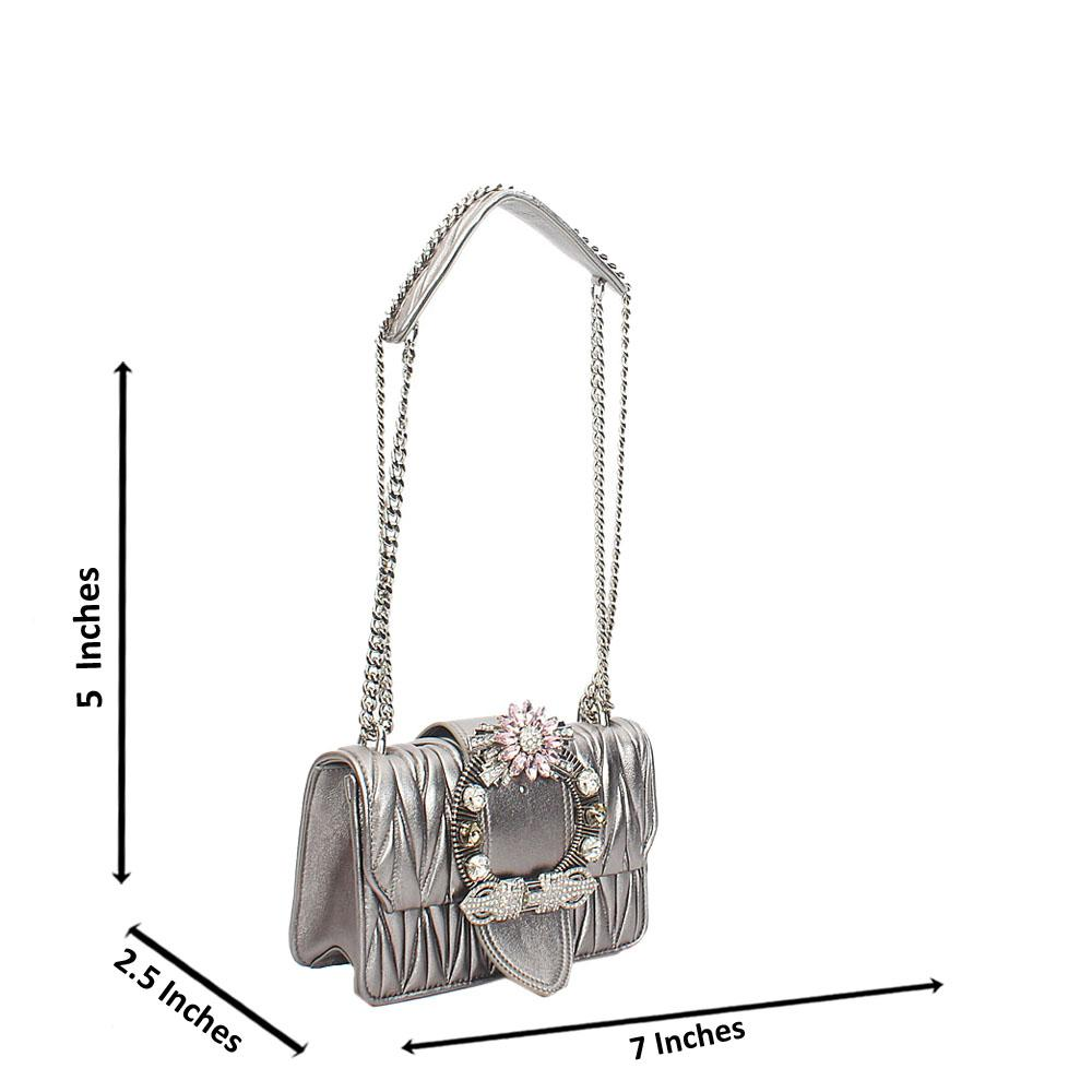 Gray Shimmering Crytals Studded Chain Crossbody Handbag