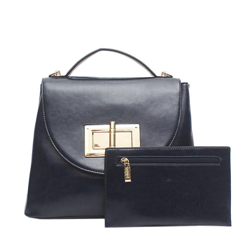 Autograph Finesse Navy Leather Single Handle Bag Wt Purse