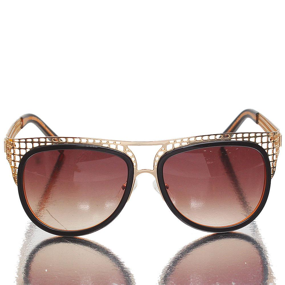 Gold Brown Oblong Brown Lens Sunglasses