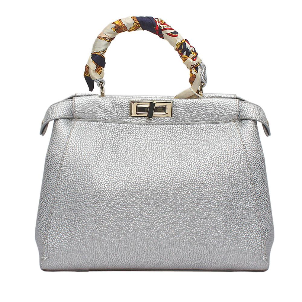 Silver Leather Peekaboo Bag