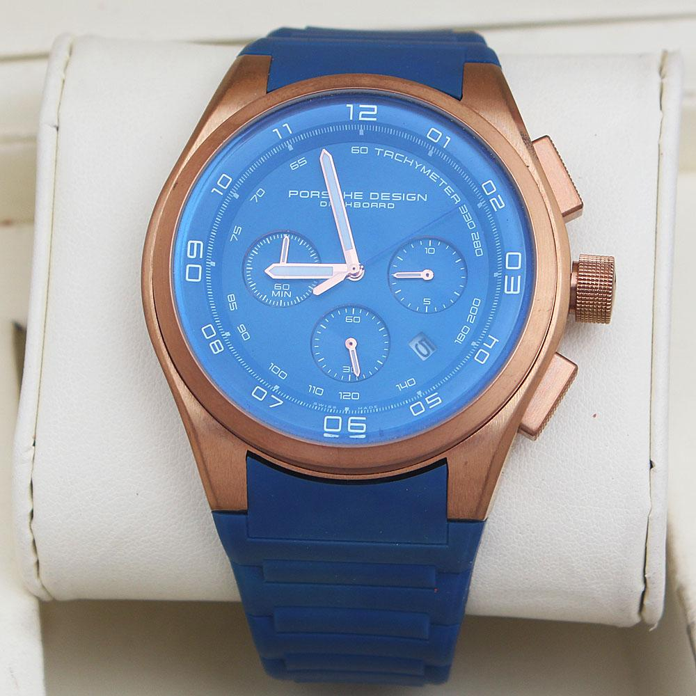 Blue Rubber Strap Men Chronograph Watch-