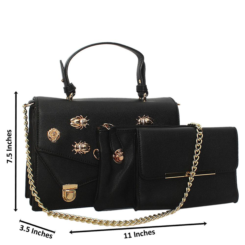 Black Gold Plated Leather Chain Top Handle Handbag