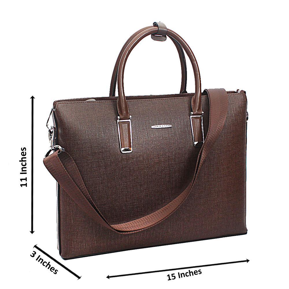Brown Tweed Cowhide Leather Briefcase wt Side Zip