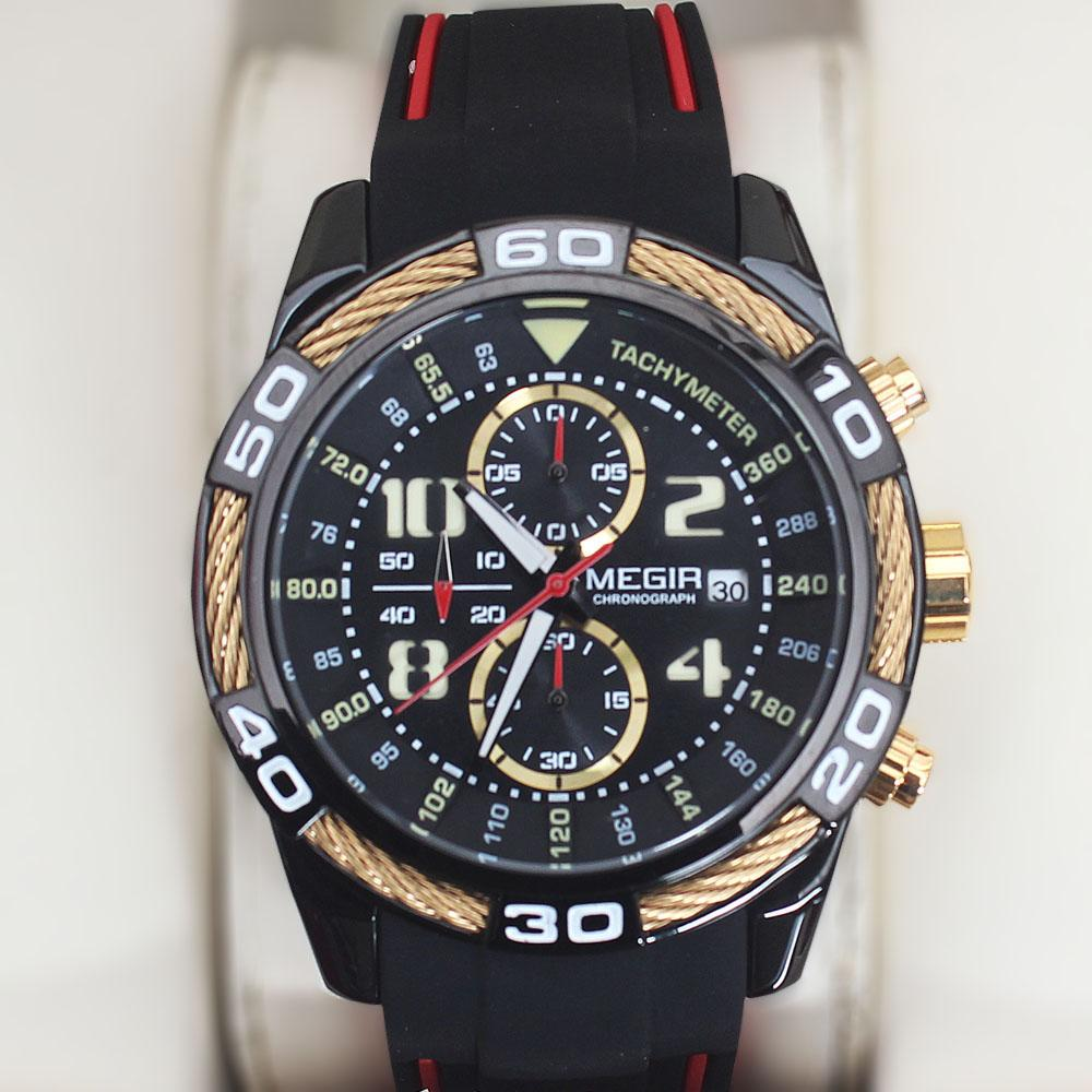 MG Gold Black Rubber Chronograph Watch