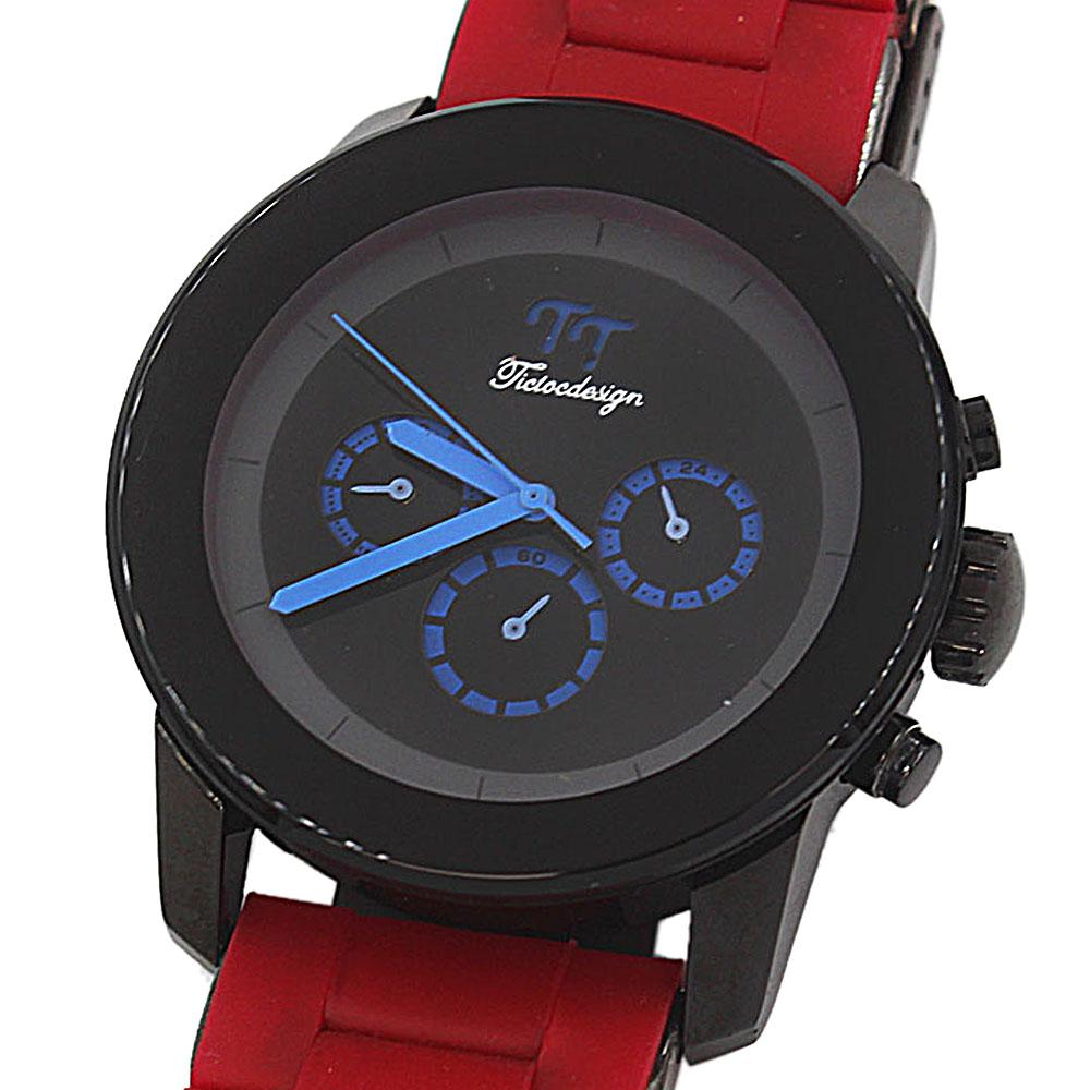 Red Stainless Steel Mens Watch-
