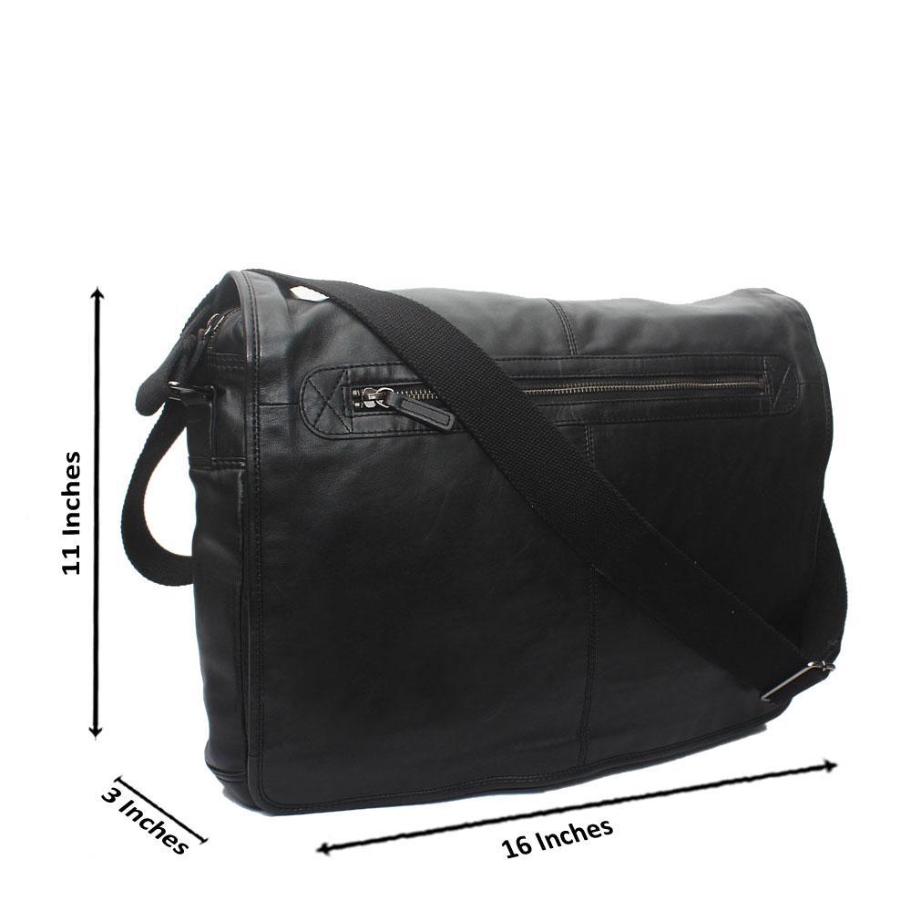 Autograph Black Genuine Leather Messenger Bag