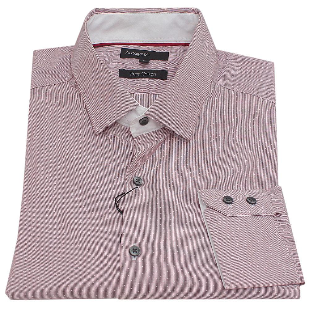Autograph Wine Tiny Stripe Cotton L/Sleeve Men Shirt