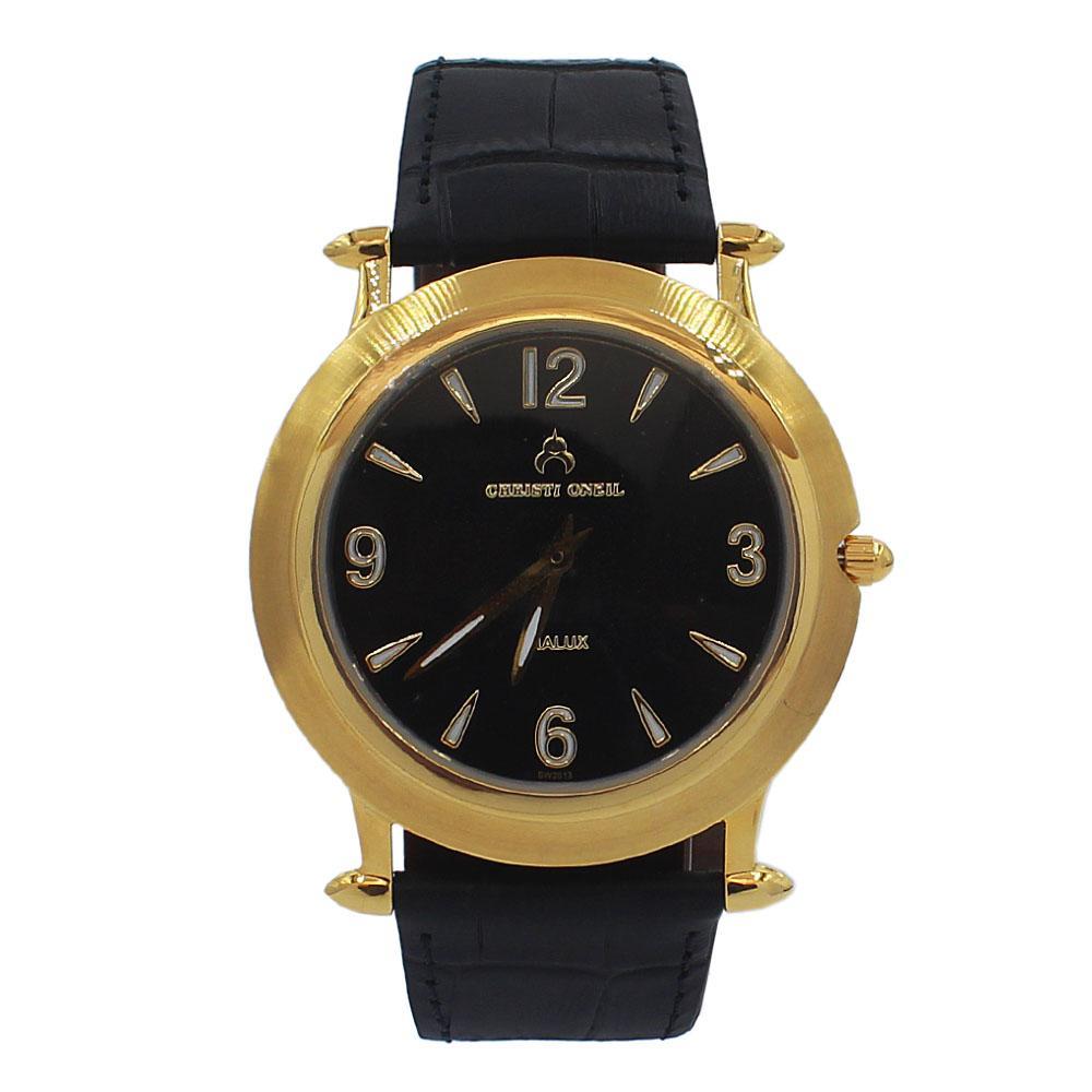 Black Gold Santiago Leather Flat Watch