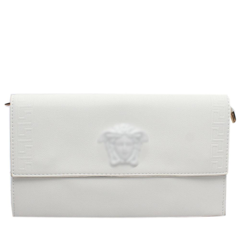 White Embossed Leather Flat Purse