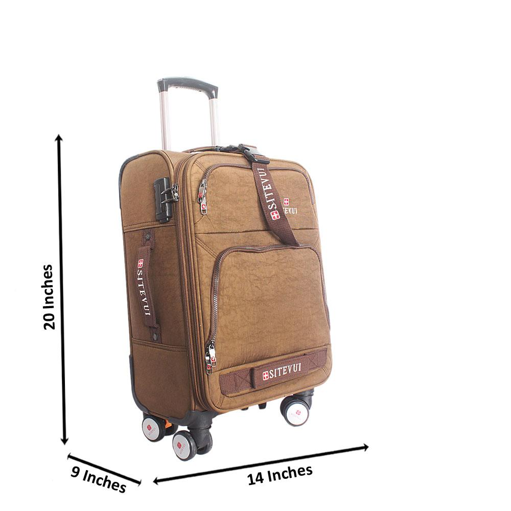 Brown Rugged 20 Inch Fabric 4 Wheels Spinners Carry on Luggage