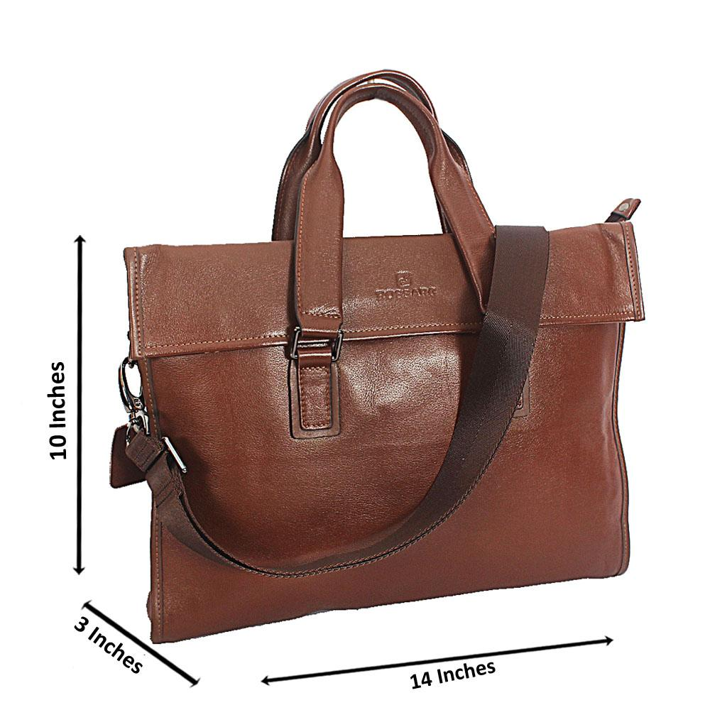 Brown Rossarg Smooth Grain Leather Tote Man Bag