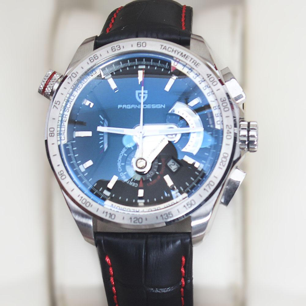 Pagani Design Black Red Leather Chronograph Watch