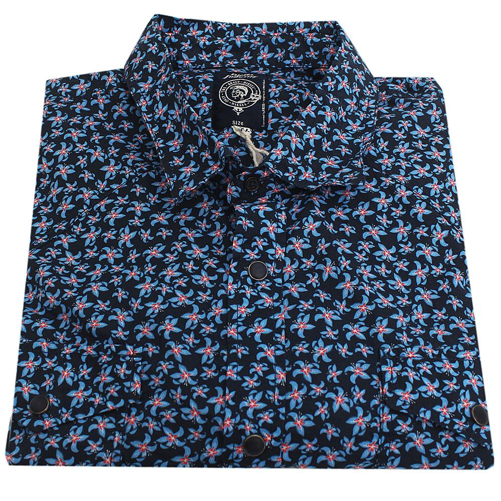 Diesel Blue L/Sleeve Men Casual Shirt