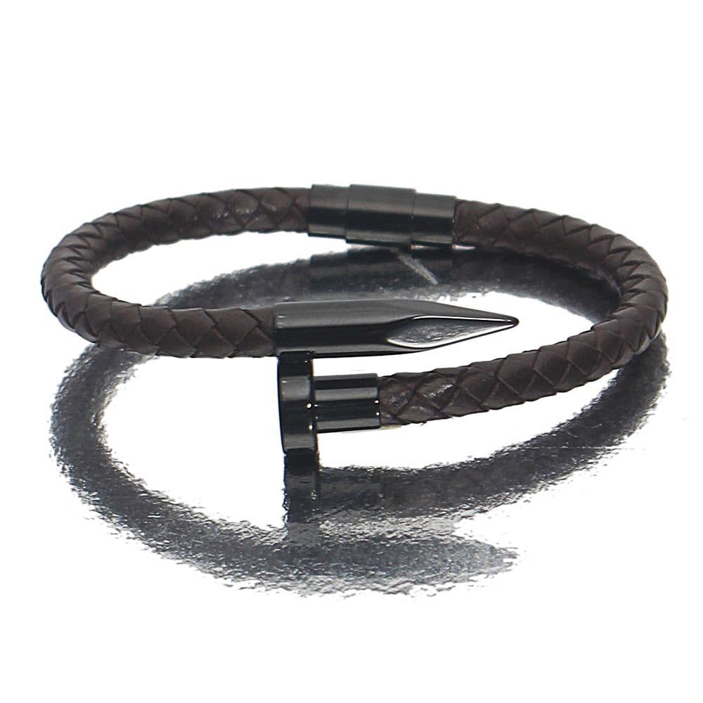 Coffee Black Bullet Leather Bracelet