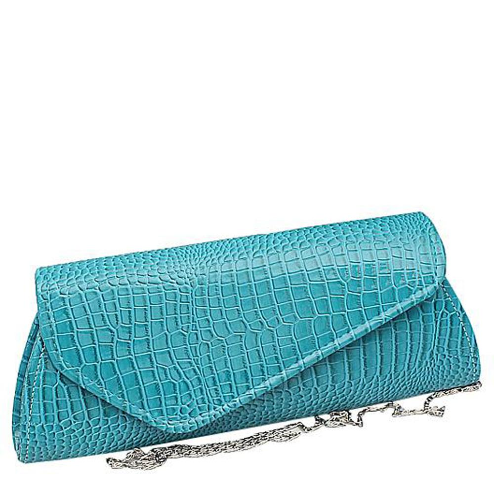 Blue Leather Ladies Clutch Bag
