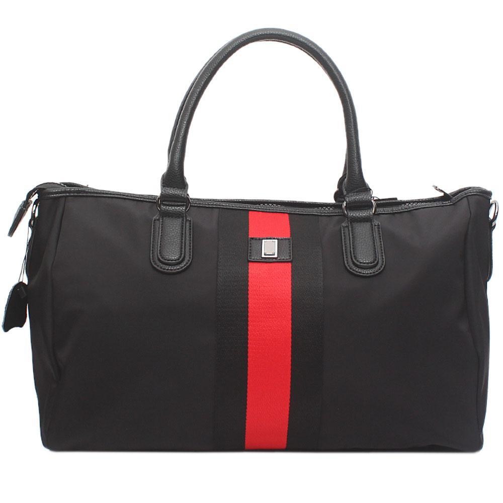London Style Black Red Fabric Leather Big Handbag