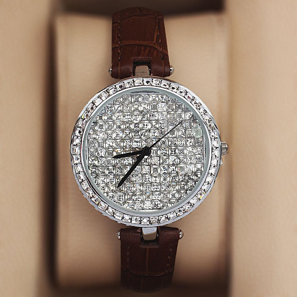 Silver Brown Crystal Ice Studded Leather Ladies Watch
